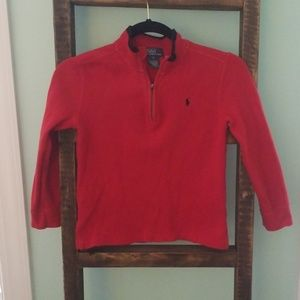 Red sweatshirt zippered pullover